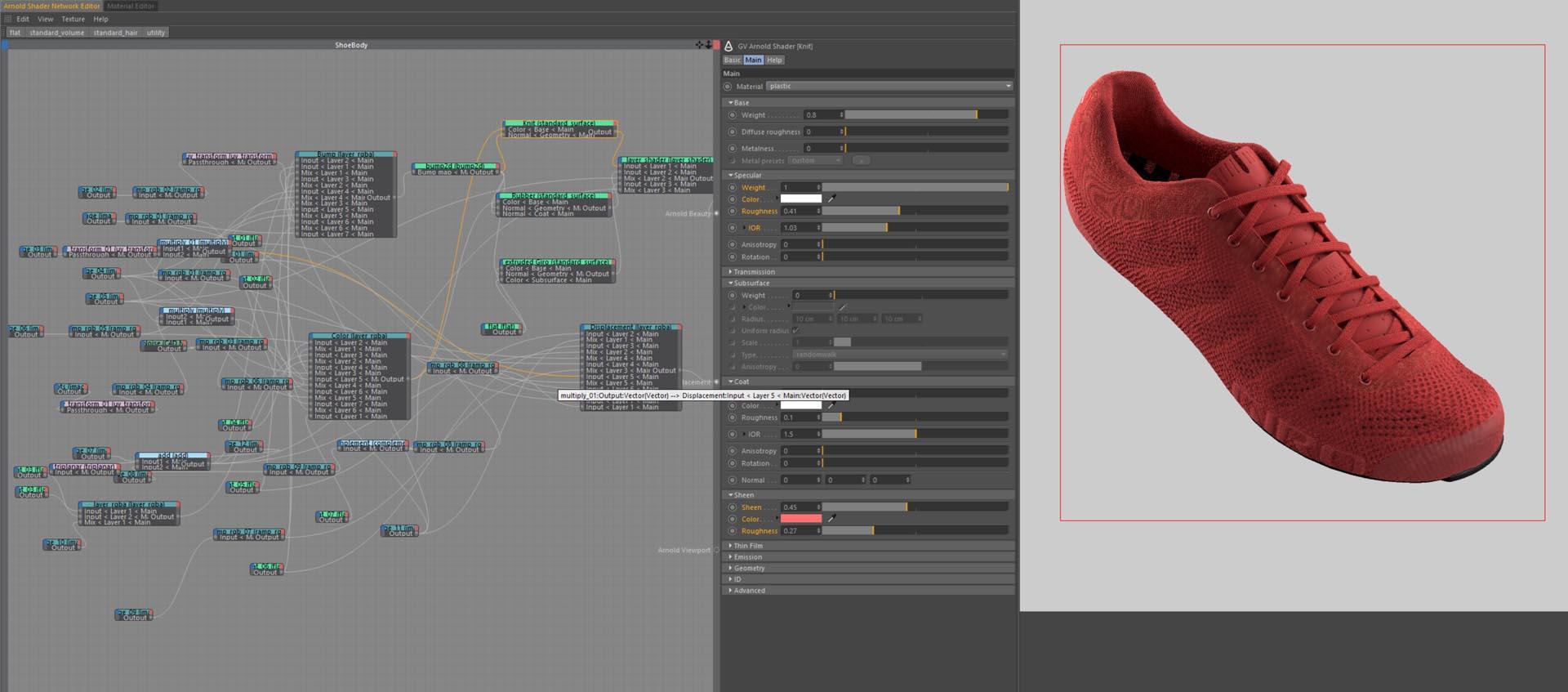 3D Shoe Render C4D material node